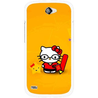 Snooky Printed Kitty Study Mobile Back Cover For Gionee Pioneer P3 - Orange