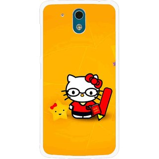 Snooky Printed Kitty Study Mobile Back Cover For HTC Desire 326G - Orange