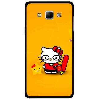 Snooky Printed Kitty Study Mobile Back Cover For Samsung Galaxy E5 - Orange