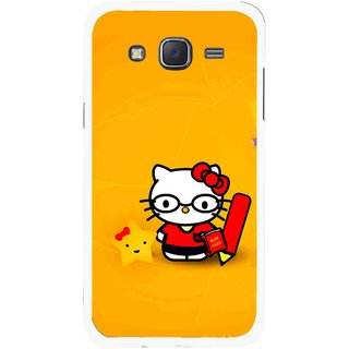Snooky Printed Kitty Study Mobile Back Cover For Samsung Galaxy J5 - Orange