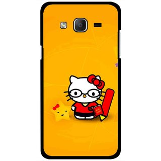 Snooky Printed Kitty Study Mobile Back Cover For Samsung Galaxy On5 - Orange