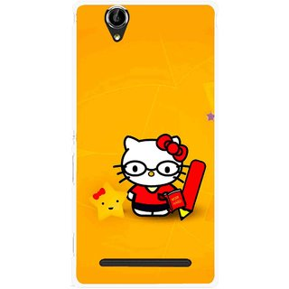 Snooky Printed Kitty Study Mobile Back Cover For Sony Xperia T2 Ultra - Orange