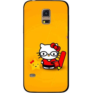 Snooky Printed Kitty Study Mobile Back Cover For Samsung Galaxy S5 Mini - Orange