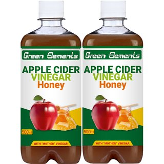 Green Elements - Apple Cider Vinegar  Honey (Raw, Unprocessed and Unrefined) with Mother Vinegar, 1000ml (Pack of 2)