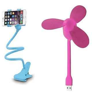 Combo of Lazy Stand and USB Fan (Assorted Colors)