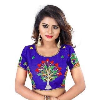 01d92f37d1b21d Varudi Fashion Blue Banglori Silk Readymade embroidery designer saree blouse