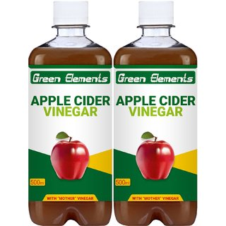 Green Elements - Apple Cider Vinegar (Raw, Unprocessed and Unrefined) with Mother Vinegar, 1000ml (Pack of 2)