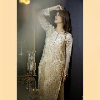 Pakistani Designer Maria b mbroidered pure chiffon/silk collection (Unstitched)