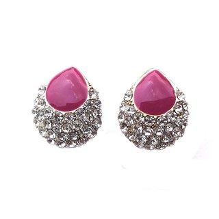 Fashion Magenta Stud Earrings - 700