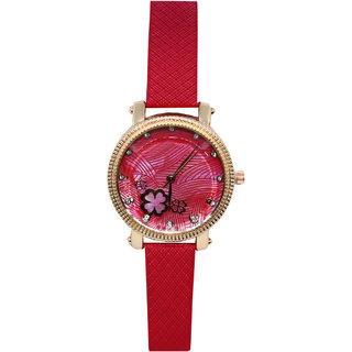 JM New Sure Short Style Red Leather Belt Watch
