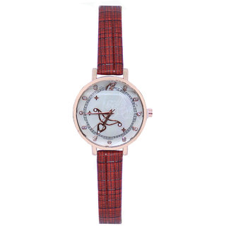 JM New Sure Short Style Line Red Leather Belt Watch