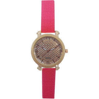 JM New Sure Short Style Mate Pink  Leather Belt Watch