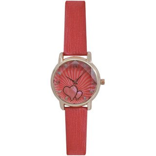 JM New Sure Short Style' Red Leather Belt Watch