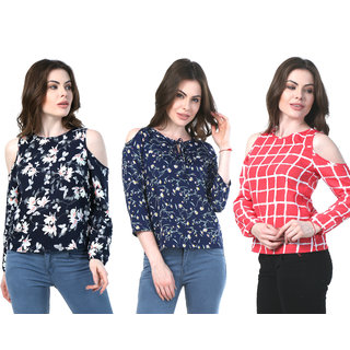 ba7468f00f9f9c Klick2Style Cold Shoulder Crepe Tops Pack of 3 Red Check Navy Black Floral  Print