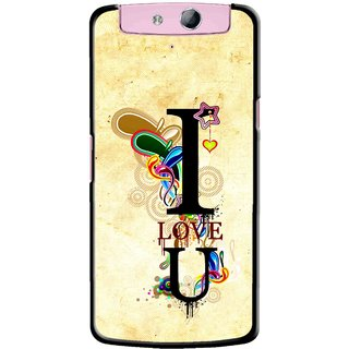 Snooky Printed Love You Mobile Back Cover For Oppo N1 Mini - Yellow