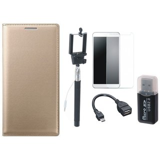 Redmi Note 3 Leather Flip Cover with Kick Stand with Memory Card Reader, Free Selfie Stick, Tempered Glass and OTG Cable