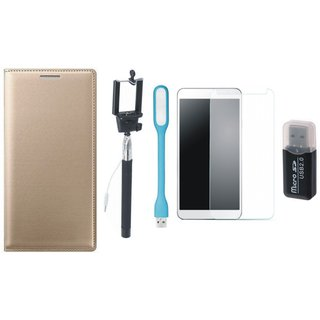 Redmi Note 3 Leather Flip Cover with Kick Stand with Memory Card Reader, Free Selfie Stick, Tempered Glass, and LED Light