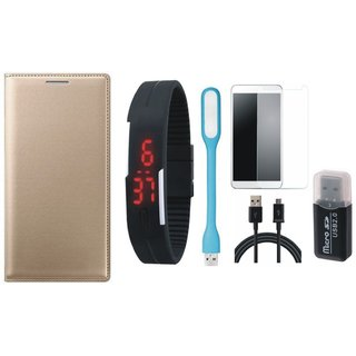 Redmi Note 3 Leather Flip Cover with Kick Stand with Memory Card Reader, Free Digital LED Watch, Tempered Glass, LED Light and USB Cable