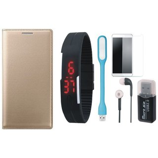 Redmi Note 3 Leather Flip Cover with Kick Stand with Memory Card Reader, Free Digital LED Watch, Tempered Glass, LED Light and Earphones