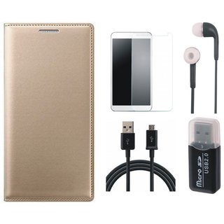 Redmi Note 3 Leather Cover with Memory Card Reader, Earphones, Tempered Glass and USB Cable