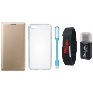 Redmi Note 3 Leather Cover with Memory Card Reader, Silicon Back Cover, Digital Watch and USB LED Light