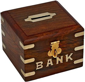Triple S Handicrafts Wooden Square  Coin bank