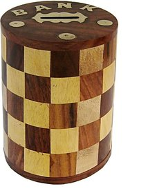 Triple S Handicrafts Wooden Round Chess Designed coin bank