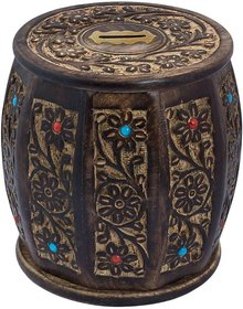 Triple S Handicrafts Wooden Drum Shaped Coin bank