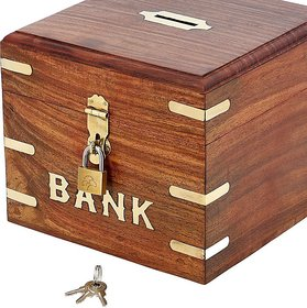 Triple S Handicrafts Wooden Square coin Bank with lock