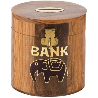 Triple S Handicrafts Wooden Elephant printed Coin bank