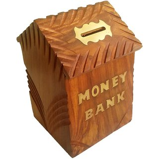 Triple S Handicrafts Wooden Hut shaped  Coin bank