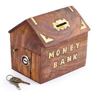 Triple S Handicrafts Wooden Hut Shaped coin bank