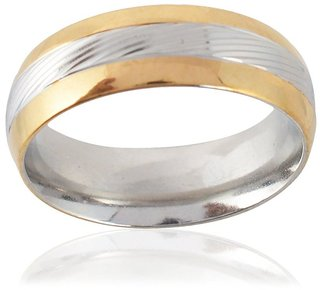 Sanaa Creations Mens Style Stainless Steel Gold and Silver Plated Ring for Men