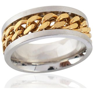 Sanaa Creations Mens Style Stainless Steel Gold and Silver Plated Alloy Ring for Men