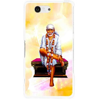 Snooky Printed Sai Baba Mobile Back Cover For Sony Xperia Z3 Compact - Yellow