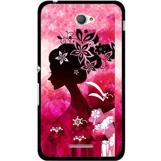 Snooky Printed Pink Lady Mobile Back Cover For Sony Xperia E4 - Multicolour