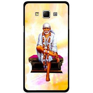 Snooky Printed Sai Baba Mobile Back Cover For Samsung Galaxy E5 - Yellow