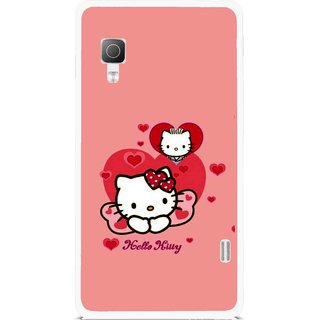 Snooky Printed Pinky Kitty Mobile Back Cover For Lg Optimus L5II E455 - Multicolour
