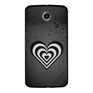 Snooky Printed Hypro Heart Mobile Back Cover For Motorola Nexus 6 - Black
