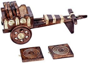 Triple S Handicrafts Wooden Coaster set with 6 coasters
