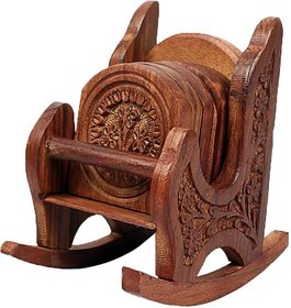 Triple S Handicrafts Wooden Rocking chair designed Coaster set with 6 coasters