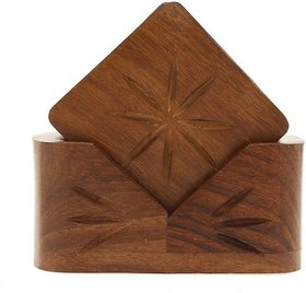 Triple S Handicrafts Wooden Square Coaster set with 6 coasters