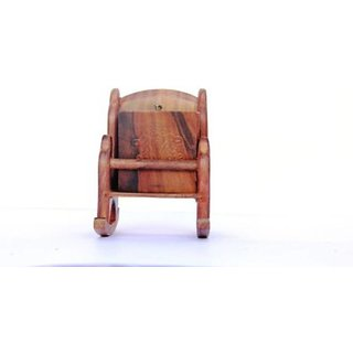 Triple S Handicrafts Wooden Rocking chair shaped Coaster set with 6 coasters