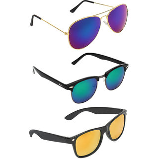 Zyaden Combo of 3 Aviator Sunglasses