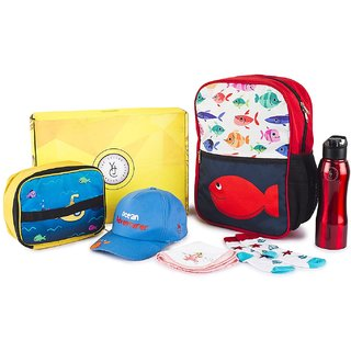 The Yellow Jersey Company (YJC) 6 Item Set- Underwater Theme (School Bag (Red) + Lunch Bag + Bottle + Towel + Cap + Socks (Age 2-5 years))