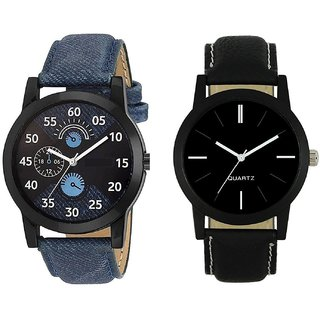 PMAX leather blue and black Combo Deals Analog Watch For Men And Boys