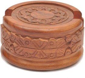 Triple S Handicrafts Wooden Round  Coaster set of 1