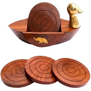 Triple S Handicrafts Wooden Square Duck Shaped Coaster set of 2
