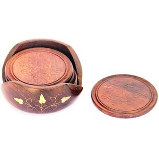 Triple S Handicrafts Wooden Round Coaster set