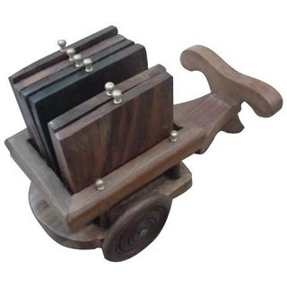 Triple S Handicrafts Wooden Square Small bullock cart shaped Coaster set of 4
